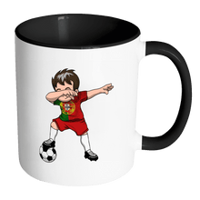 Load image into Gallery viewer, RobustCreative-Dabbing Soccer Boys Portugal Portuguese Lisbon Gift National Soccer Tournament Game 11oz Black & White Coffee Mug ~ Both Sides Printed