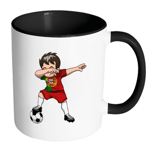 RobustCreative-Dabbing Soccer Boys Portugal Portuguese Lisbon Gift National Soccer Tournament Game 11oz Black & White Coffee Mug ~ Both Sides Printed