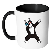 Load image into Gallery viewer, RobustCreative-Dabbing Boston Terrier Dog America Flag - Patriotic Merica Murica Pride - 4th of July USA Independence Day - 11oz Black & White Funny Coffee Mug Women Men Friends Gift ~ Both Sides Printed