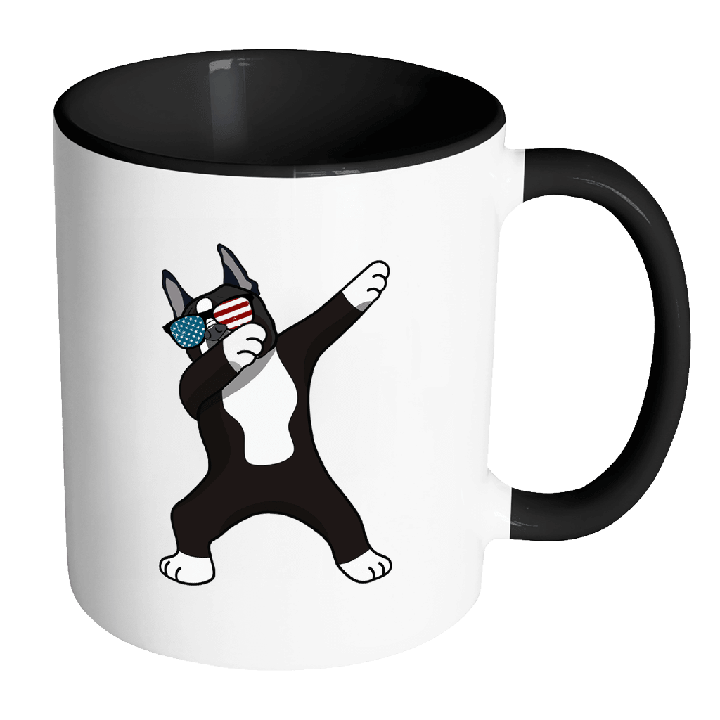 RobustCreative-Dabbing Boston Terrier Dog America Flag - Patriotic Merica Murica Pride - 4th of July USA Independence Day - 11oz Black & White Funny Coffee Mug Women Men Friends Gift ~ Both Sides Printed