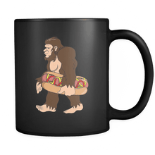 Load image into Gallery viewer, RobustCreative-Bigfoot Sasquatch Carrying Hotdog - I Believe I'm a Believer - No Yeti Humanoid Monster - 11oz Black Funny Coffee Mug Women Men Friends Gift ~ Both Sides Printed