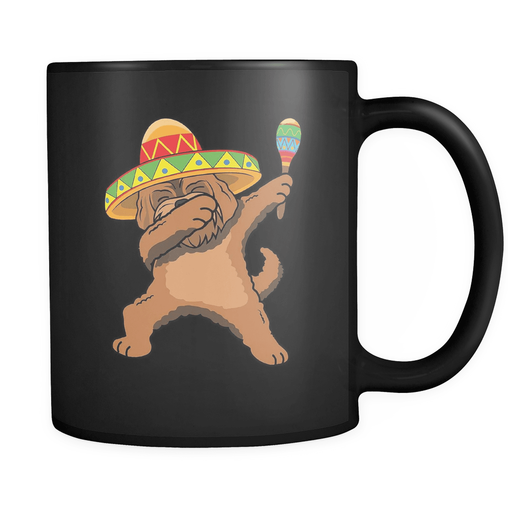 RobustCreative-Dabbing Goldendoodle Dog in Sombrero - Cinco De Mayo Mexican Fiesta - Dab Dance Mexico Party - 11oz Black Funny Coffee Mug Women Men Friends Gift ~ Both Sides Printed