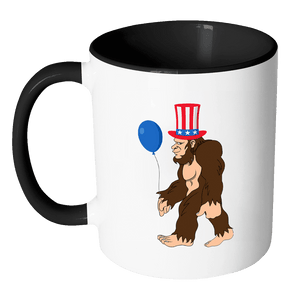 RobustCreative-Bigfoot Sasquatch Baloon - 4th of July American Pride Apparel - Merica USA Pride - 11oz Black & White Funny Coffee Mug Women Men Friends Gift ~ Both Sides Printed