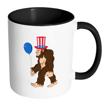 Load image into Gallery viewer, RobustCreative-Bigfoot Sasquatch Baloon - 4th of July American Pride Apparel - Merica USA Pride - 11oz Black & White Funny Coffee Mug Women Men Friends Gift ~ Both Sides Printed