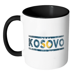 RobustCreative-Retro Vintage Flag Kosovan Kosovo 11oz Black & White Coffee Mug ~ Both Sides Printed