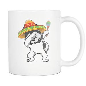 RobustCreative-Dabbing Alaskan Malamute Dog in Sombrero - Cinco De Mayo Mexican Fiesta - Dab Dance Mexico Party - 11oz White Funny Coffee Mug Women Men Friends Gift ~ Both Sides Printed