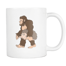 Load image into Gallery viewer, RobustCreative-Bigfoot Sasquatch Carrying Hedgehog - I Believe I'm a Believer - No Yeti Humanoid Monster - 11oz White Funny Coffee Mug Women Men Friends Gift ~ Both Sides Printed