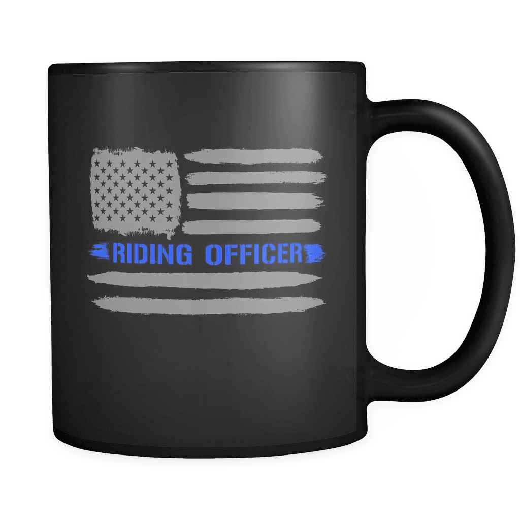 RobustCreative-Riding Officer American Flag patriotic Trooper Cop Thin Blue Line Law Enforcement Officer 11oz Black Coffee Mug ~ Both Sides Printed