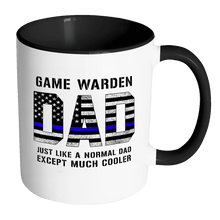 Load image into Gallery viewer, RobustCreative-Game Warden Dad is Much Cooler fathers day gifts Serve & Protect Thin Blue Line Law Enforcement Officer 11oz Black & White Coffee Mug ~ Both Sides Printed