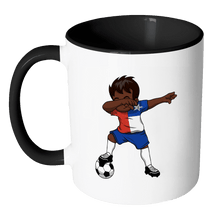 Load image into Gallery viewer, RobustCreative-Dabbing Soccer Boy Chile Chilean Santiago Gifts National Soccer Tournament Game 11oz Black & White Coffee Mug ~ Both Sides Printed