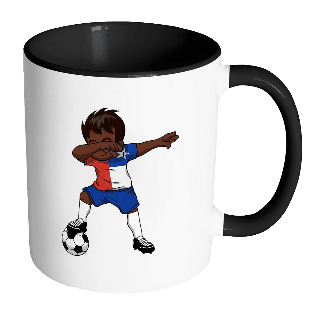 RobustCreative-Dabbing Soccer Boy Chile Chilean Santiago Gifts National Soccer Tournament Game 11oz Black & White Coffee Mug ~ Both Sides Printed