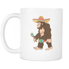 Load image into Gallery viewer, RobustCreative-Bigfoot Maracas Sombrero - Cinco De Mayo Mexican Fiesta - No Siesta Mexico Party - 11oz White Funny Coffee Mug Women Men Friends Gift ~ Both Sides Printed
