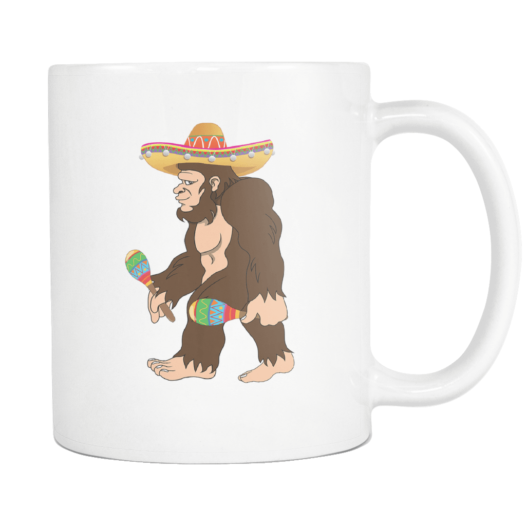 RobustCreative-Bigfoot Maracas Sombrero - Cinco De Mayo Mexican Fiesta - No Siesta Mexico Party - 11oz White Funny Coffee Mug Women Men Friends Gift ~ Both Sides Printed