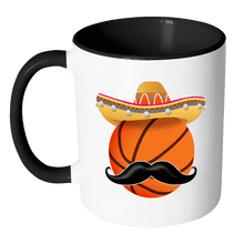 Load image into Gallery viewer, RobustCreative-Funny Basketball Mustache Mexican Sport - Cinco De Mayo Mexican Fiesta - No Siesta Mexico Party - 11oz Black & White Funny Coffee Mug Women Men Friends Gift ~ Both Sides Printed