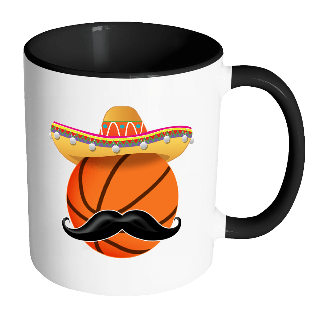 RobustCreative-Funny Basketball Mustache Mexican Sport - Cinco De Mayo Mexican Fiesta - No Siesta Mexico Party - 11oz Black & White Funny Coffee Mug Women Men Friends Gift ~ Both Sides Printed