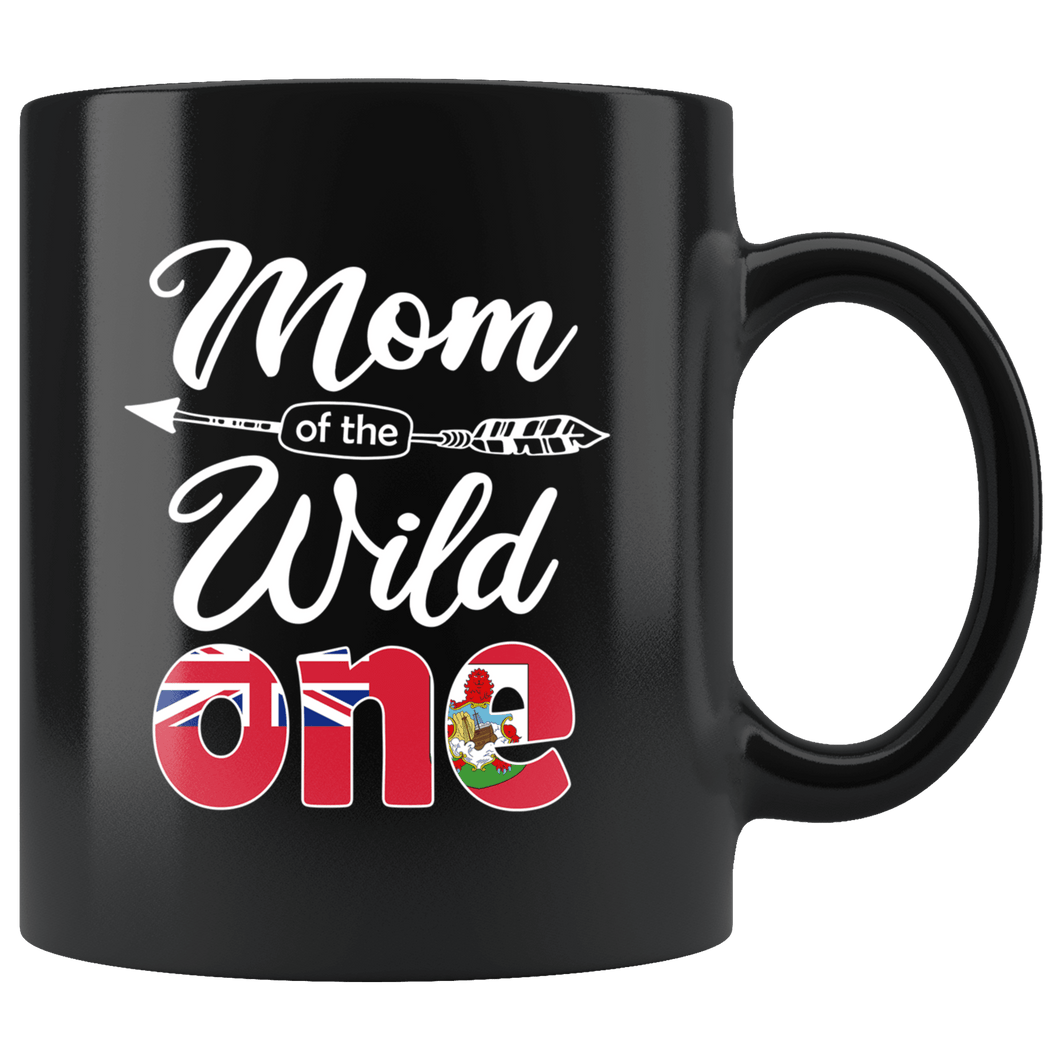 RobustCreative-Bermudian Mom of the Wild One Birthday Bermuda Flag Black 11oz Mug Gift Idea