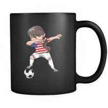 Load image into Gallery viewer, RobustCreative-American Dabbing Soccer Girl - Soccer Pride - America Flag Gift America Football Gift - 11oz Black Funny Coffee Mug Women Men Friends Gift ~ Both Sides Printed