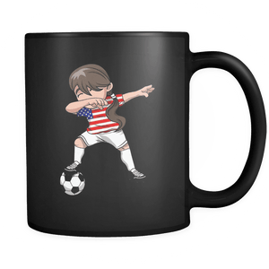 RobustCreative-American Dabbing Soccer Girl - Soccer Pride - America Flag Gift America Football Gift - 11oz Black Funny Coffee Mug Women Men Friends Gift ~ Both Sides Printed