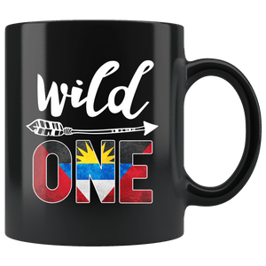 RobustCreative-Antigua Barbuda Wild One Birthday Outfit Antiguan Barbudan Flag Black 11oz Mug Gift Idea