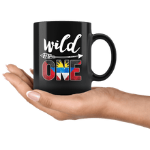 Load image into Gallery viewer, RobustCreative-Antigua Barbuda Wild One Birthday Outfit Antiguan Barbudan Flag Black 11oz Mug Gift Idea