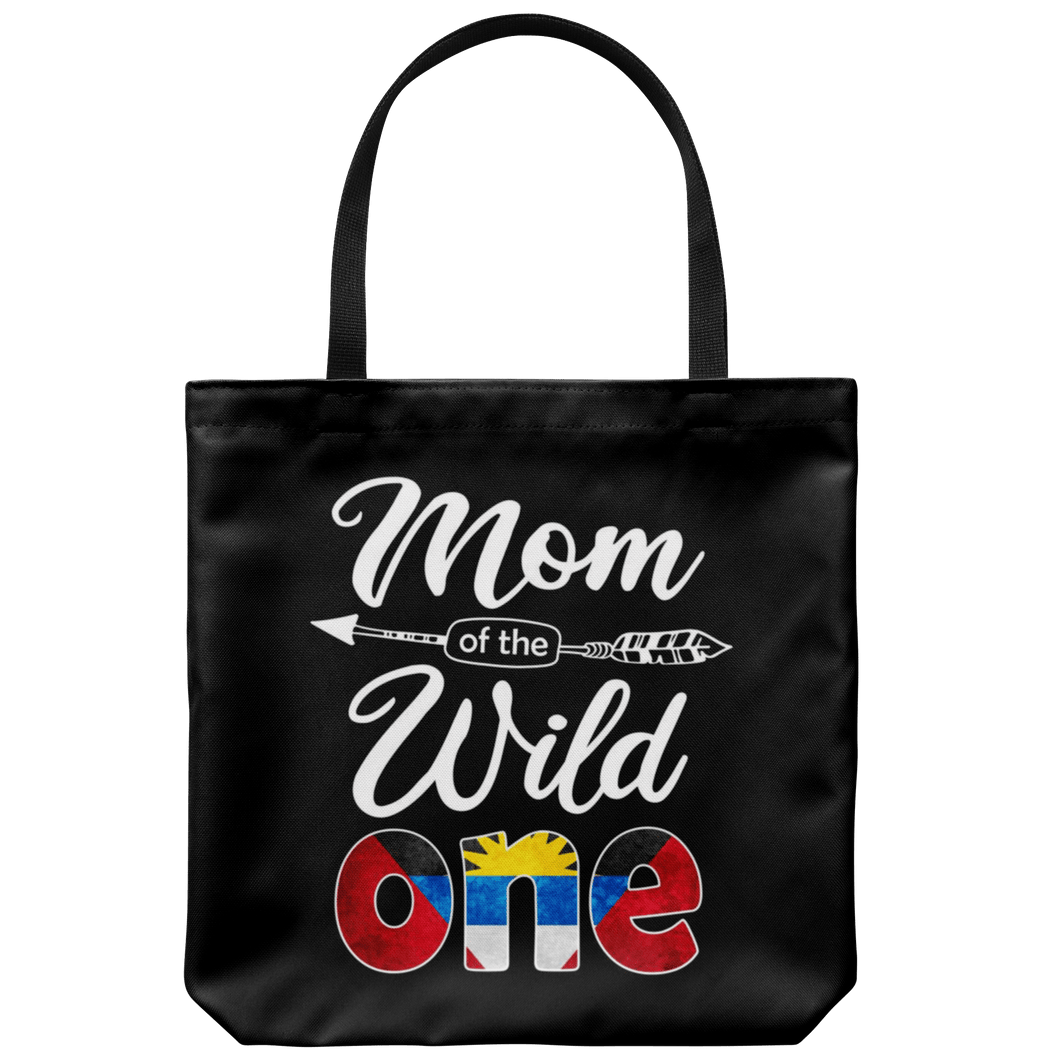 RobustCreative-Antiguan & Barbudan Mom of the Wild One Birthday Antigua & Barbuda Flag Tote Bag Gift Idea
