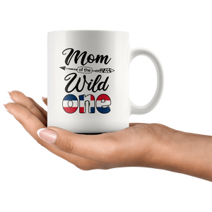 RobustCreative-Dominican Mom of the Wild One Birthday Dominican Republic Flag White 11oz Mug Gift Idea