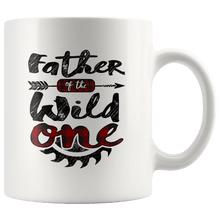 Load image into Gallery viewer, RobustCreative-Father of the Wild One Lumberjack Woodworker Sawdust - 11oz White Mug measure once plaid Gift Idea