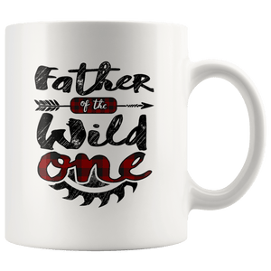 RobustCreative-Father of the Wild One Lumberjack Woodworker Sawdust - 11oz White Mug measure once plaid Gift Idea