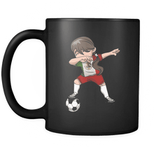 Load image into Gallery viewer, RobustCreative-Mexican Dabbing Soccer Girl - Soccer Pride - Mexico Flag Gift Mexico Football Gift - 11oz Black Funny Coffee Mug Women Men Friends Gift ~ Both Sides Printed