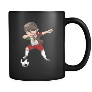 RobustCreative-Mexican Dabbing Soccer Girl - Soccer Pride - Mexico Flag Gift Mexico Football Gift - 11oz Black Funny Coffee Mug Women Men Friends Gift ~ Both Sides Printed