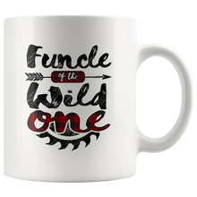 Load image into Gallery viewer, RobustCreative-Funcle of the Wild One Lumberjack Woodworker Sawdust - 11oz White Mug red black plaid Woodworking saw dust Gift Idea