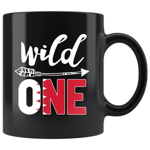 RobustCreative-Bahrain Wild One Birthday Outfit 1 Bahrani Flag Black 11oz Mug Gift Idea