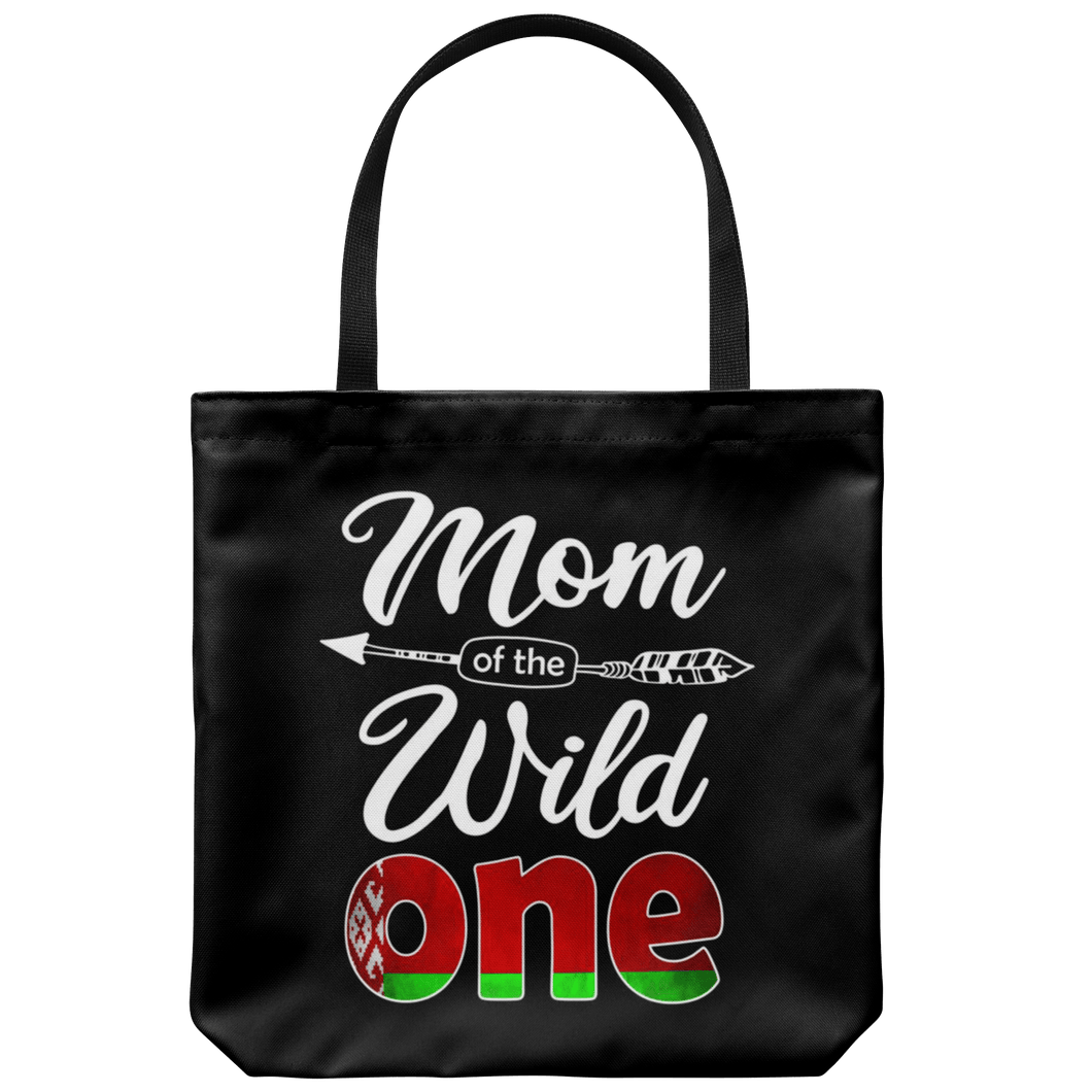 RobustCreative-Belarusian Mom of the Wild One Birthday Belarusian Flag Tote Bag Gift Idea