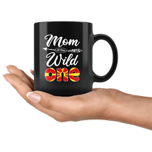 Load image into Gallery viewer, RobustCreative-Macedonian Mom of the Wild One Birthday Macedonia Flag Black 11oz Mug Gift Idea