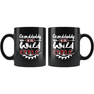 RobustCreative-Granddaddy of the Wild One Lumberjack Woodworker - 11oz Black Mug red black plaid Woodworking saw dust Gift Idea