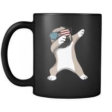 Load image into Gallery viewer, RobustCreative-Dabbing Pug Dog America Flag - Patriotic Merica Murica Pride - 4th of July USA Independence Day - 11oz Black Funny Coffee Mug Women Men Friends Gift ~ Both Sides Printed