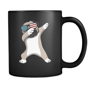 RobustCreative-Dabbing Pug Dog America Flag - Patriotic Merica Murica Pride - 4th of July USA Independence Day - 11oz Black Funny Coffee Mug Women Men Friends Gift ~ Both Sides Printed