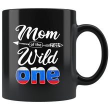 Load image into Gallery viewer, RobustCreative-Russian Mom of the Wild One Birthday Russia Flag Black 11oz Mug Gift Idea