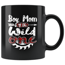 Load image into Gallery viewer, RobustCreative-Boy Mom of the Wild One Lumberjack Woodworker Sawdust Glitter - 11oz Black Mug red black plaid Woodworking saw dust Gift Idea