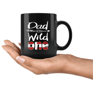 RobustCreative-Danish Dad of the Wild One Birthday Denmark Flag Black 11oz Mug Gift Idea