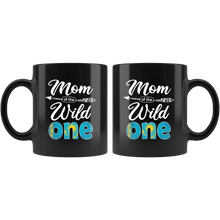 Load image into Gallery viewer, RobustCreative-Kazakh Mom of the Wild One Birthday Kazakhstan Flag Black 11oz Mug Gift Idea