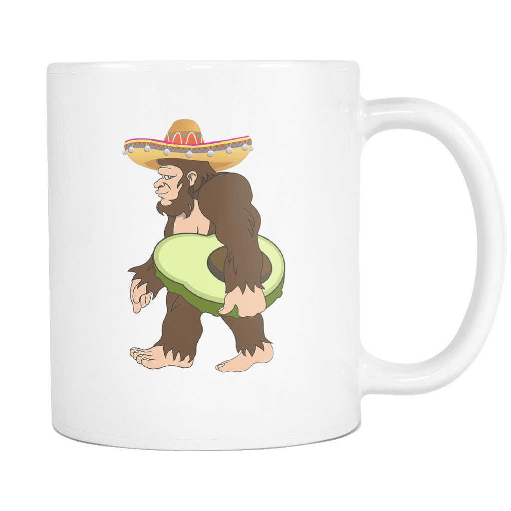 RobustCreative-Bigfoot Sasquatch Avocado - Cinco De Mayo Mexican Fiesta - No Siesta Mexico Party - 11oz White Funny Coffee Mug Women Men Friends Gift ~ Both Sides Printed
