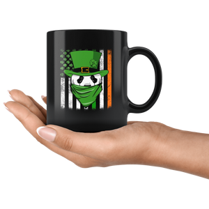 RobustCreative-Panda American Irish Flag St Patricks Day Shamrock - 11oz Black Mug lucky paddys pattys day Gift Idea