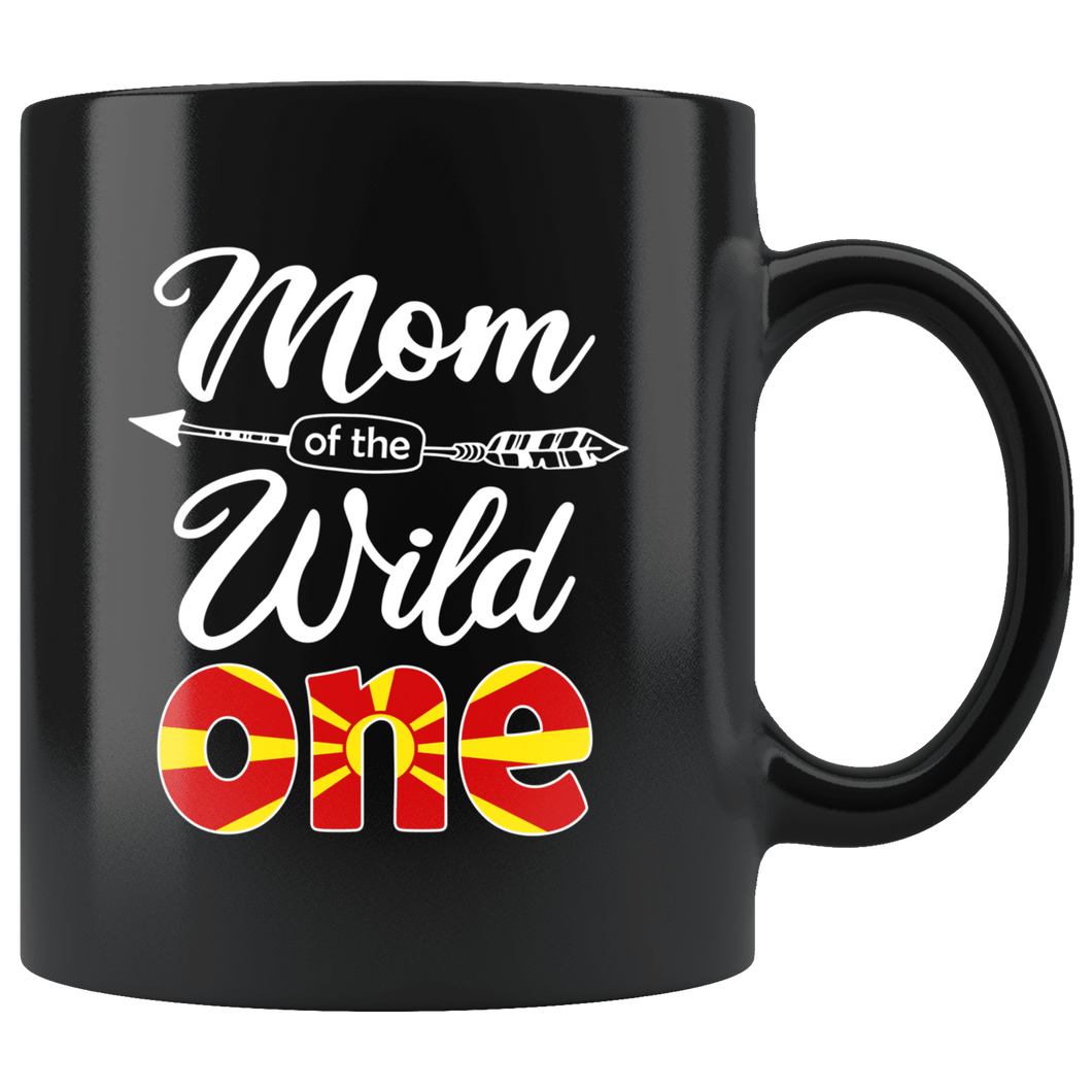 RobustCreative-Macedonian Mom of the Wild One Birthday Macedonia Flag Black 11oz Mug Gift Idea