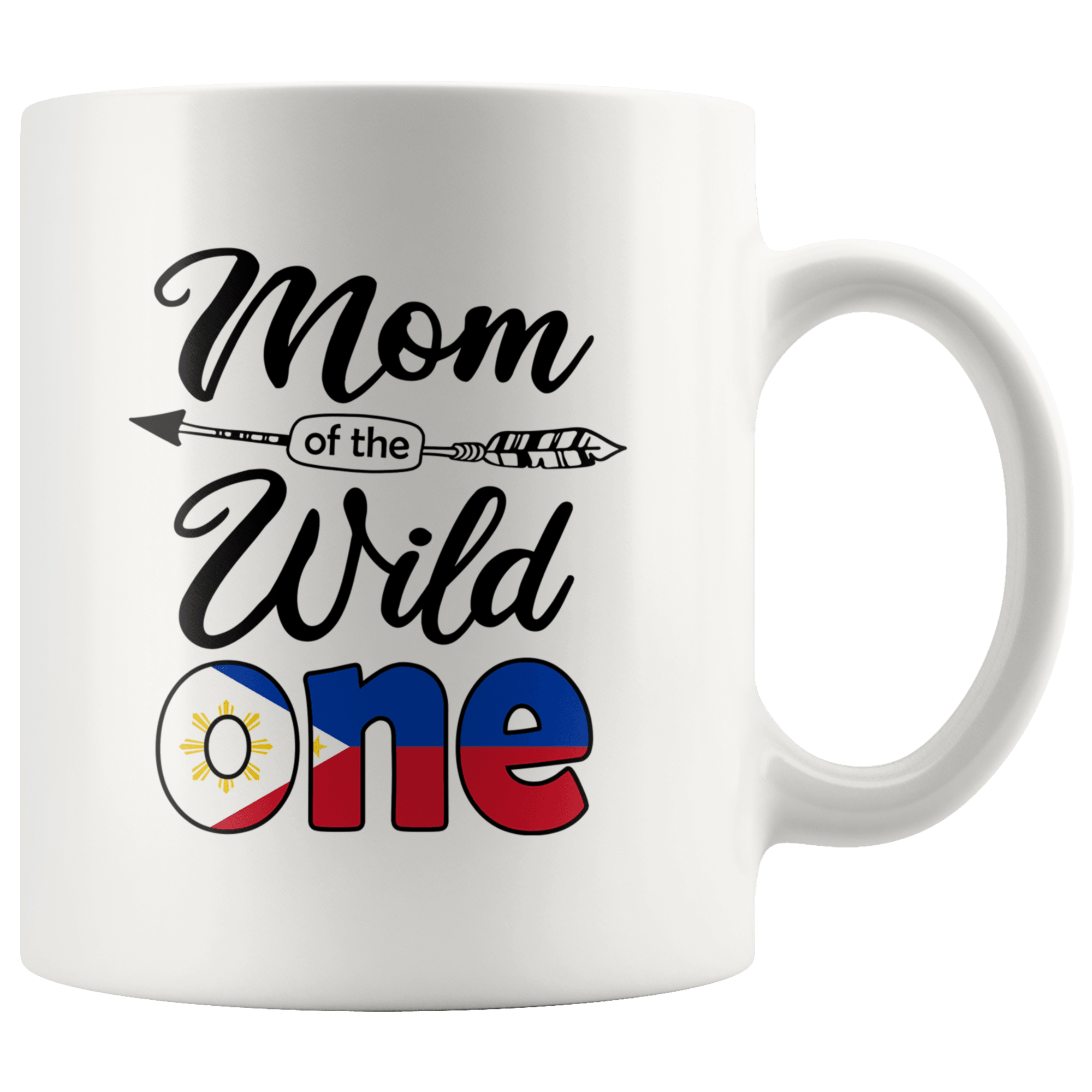 RobustCreative Filipino Pinoy Mom Of The Wild One Birthday Philippines Flag White 11oz Mug Gift
