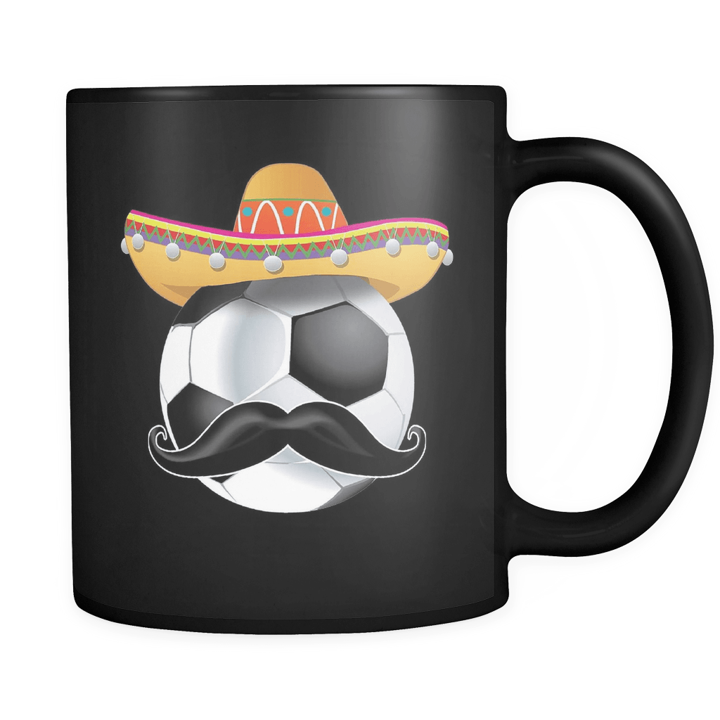 RobustCreative-Funny Soccer Ball Mustache Mexican Sport - Cinco De Mayo Mexican Fiesta - No Siesta Mexico Party - 11oz Black Funny Coffee Mug Women Men Friends Gift ~ Both Sides Printed