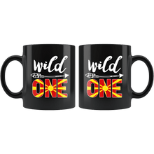 Load image into Gallery viewer, RobustCreative-Macedonia Wild One Birthday Outfit 1 Macedonian Flag Black 11oz Mug Gift Idea
