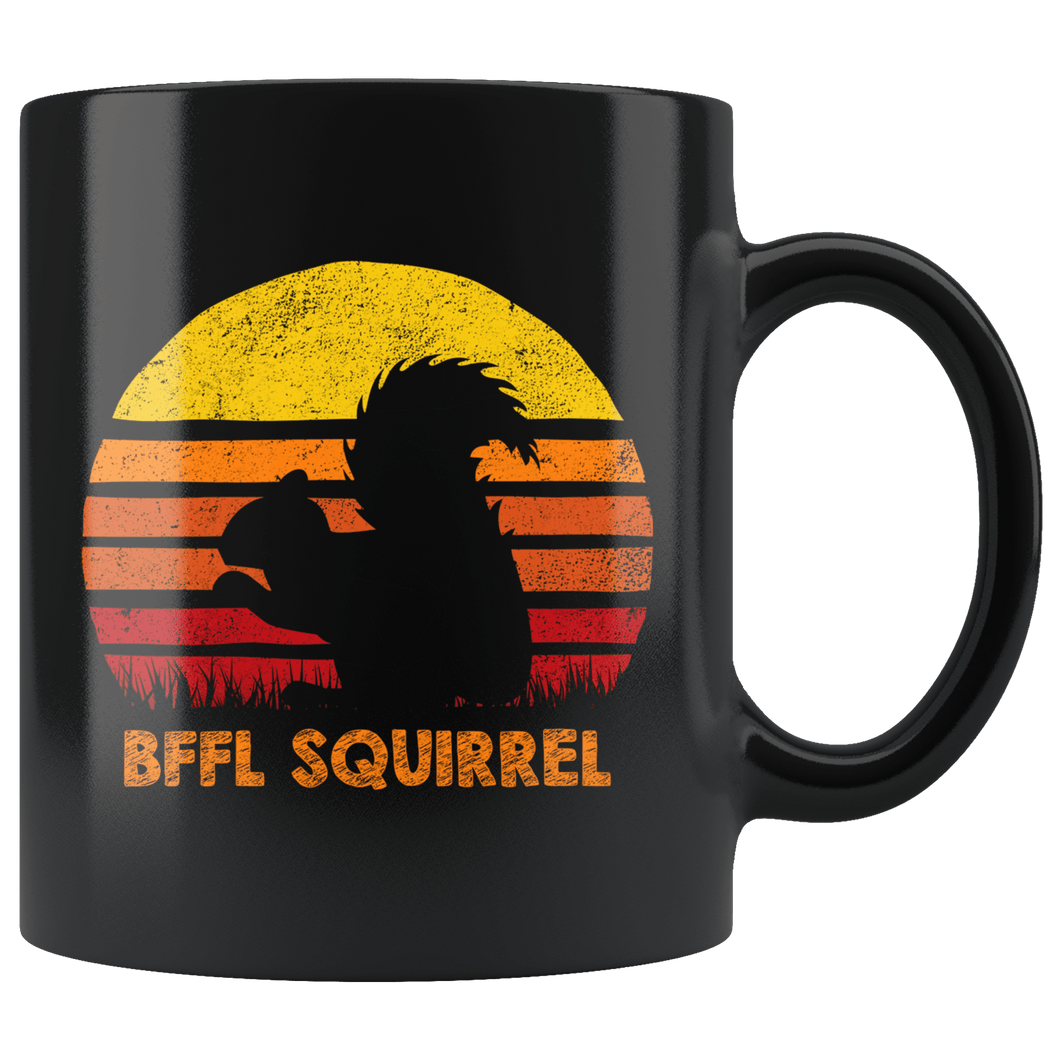 RobustCreative-Best Friends For Life Squirrel BFFL Retro Sunset Silhouette Vintage Safari Black 11oz Mug Gift Idea