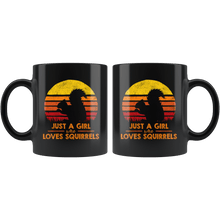 Load image into Gallery viewer, RobustCreative-Just a Girl Who Loves Squirrels Retro Sunset Silhouette Vintage Safari Black 11oz Mug Gift Idea