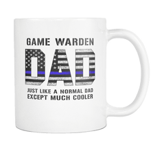 Load image into Gallery viewer, RobustCreative-Game Warden Dad is Much Cooler fathers day gifts Serve & Protect Thin Blue Line Law Enforcement Officer 11oz White Coffee Mug ~ Both Sides Printed